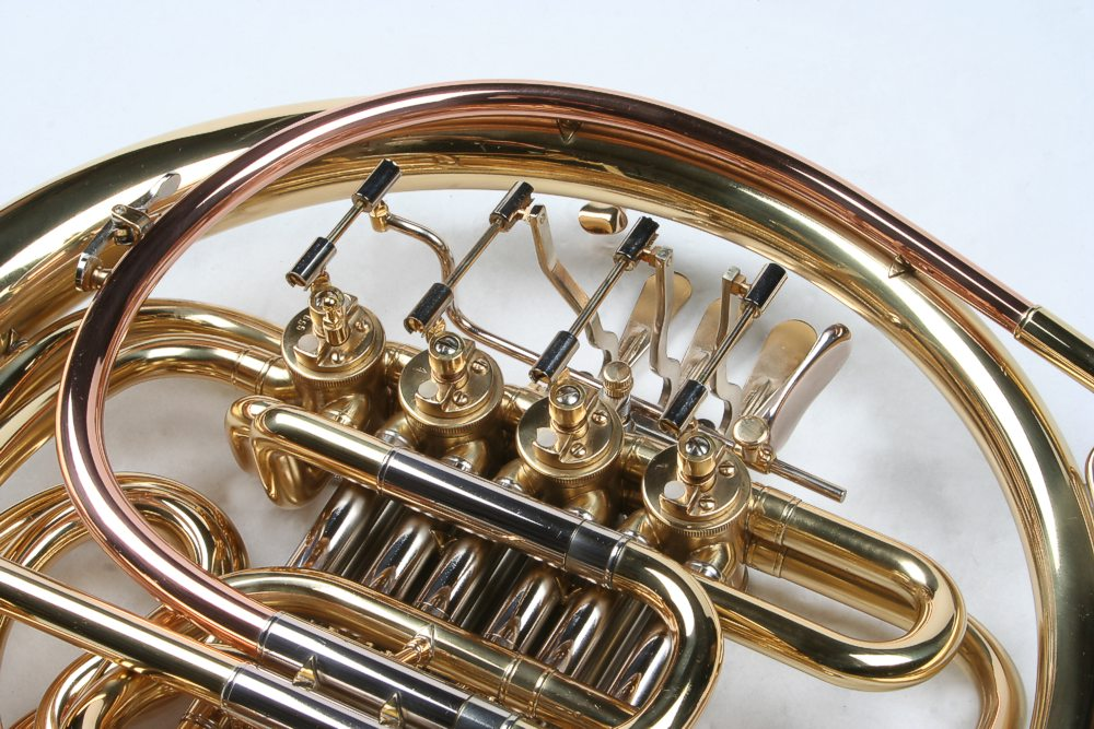 double french horn with case and mouthpiece karl glaser ebay. Black Bedroom Furniture Sets. Home Design Ideas