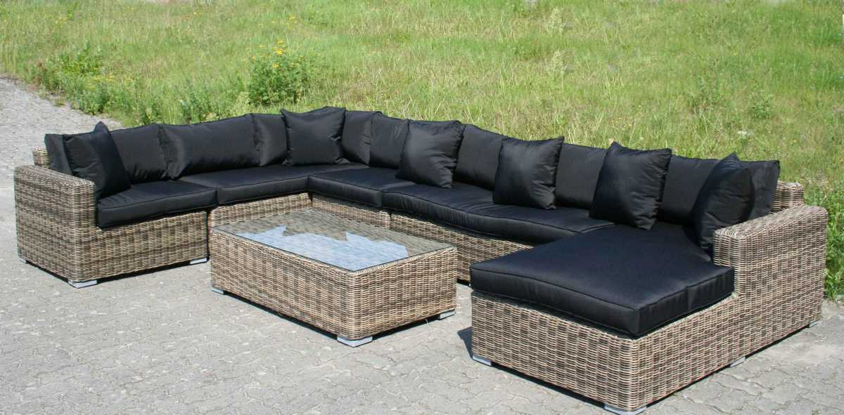 rund polyrattan gartenm bel poly rattan lounge sitzgruppe gartengarnitur binz ii ebay. Black Bedroom Furniture Sets. Home Design Ideas