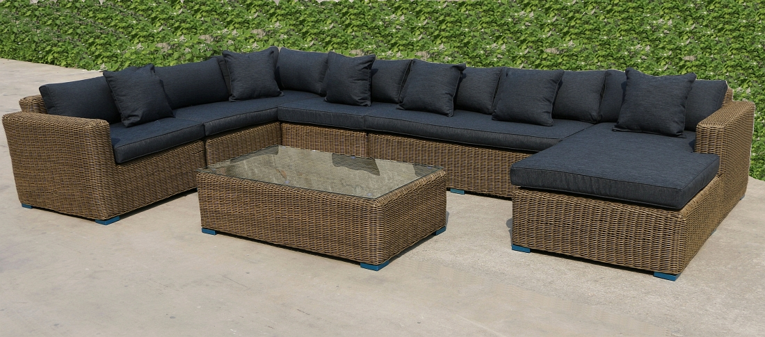 rund polyrattan gartenm bel poly rattan lounge sitzgruppe gartengarnitur binz ebay. Black Bedroom Furniture Sets. Home Design Ideas