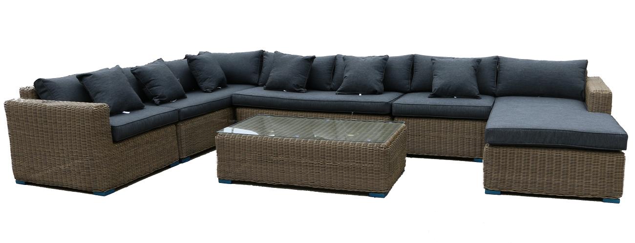 rund polyrattan gartenm bel poly rattan lounge sitzgruppe gartengarnitur binz ebay. Black Bedroom Furniture Sets. Home Design Ideas