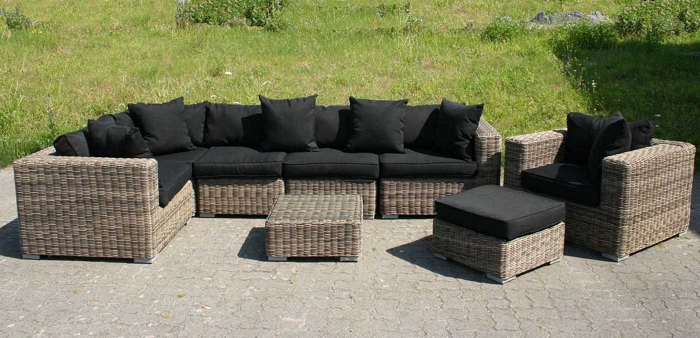 rund polyrattan gartenm bel poly rattan lounge sitzgruppe gartengarnitur torino. Black Bedroom Furniture Sets. Home Design Ideas