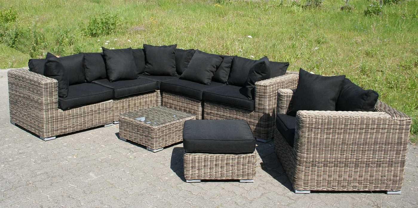 rund polyrattan gartenm bel poly rattan lounge sitzgruppe gartengarnitur torino ebay. Black Bedroom Furniture Sets. Home Design Ideas