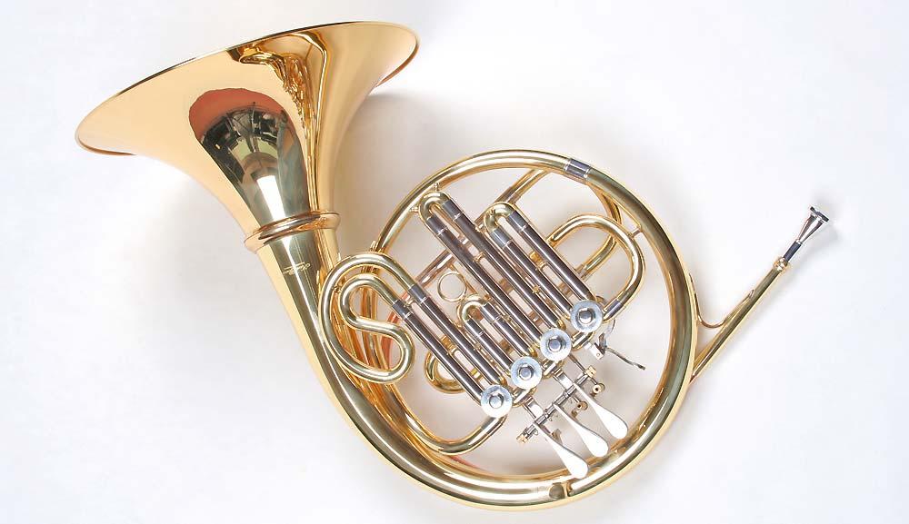 NEU Bb Waldhorn 4 Zylinderventile Goldmessing Mundrohr French Horn Koffer