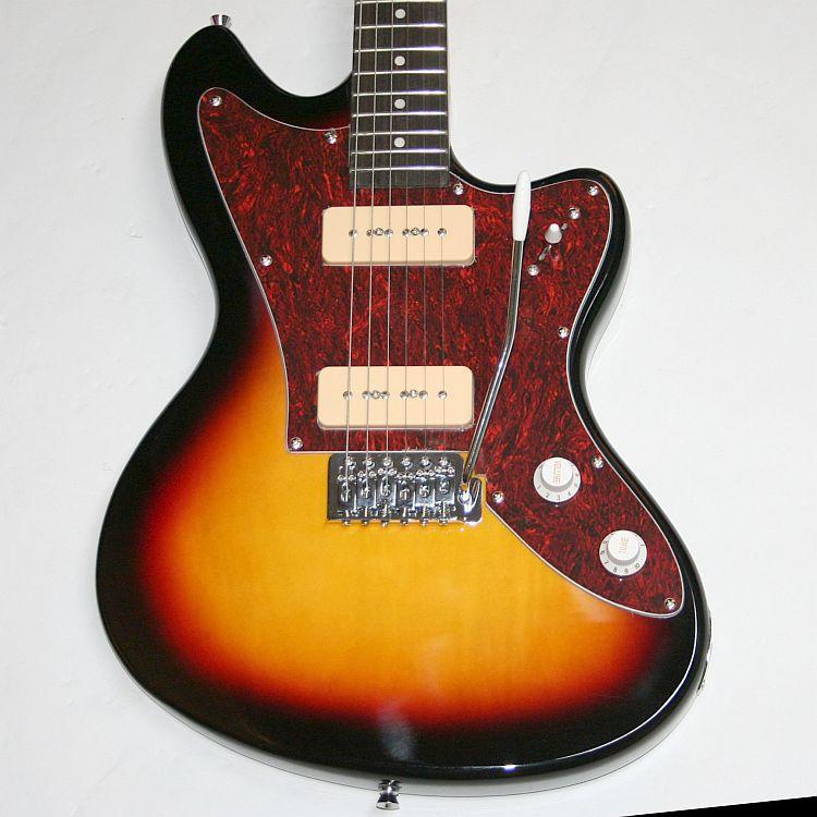 e gitarre solidbody jazz design 2 p90 vibrato chrom hardware sunburst g 45 ebay. Black Bedroom Furniture Sets. Home Design Ideas
