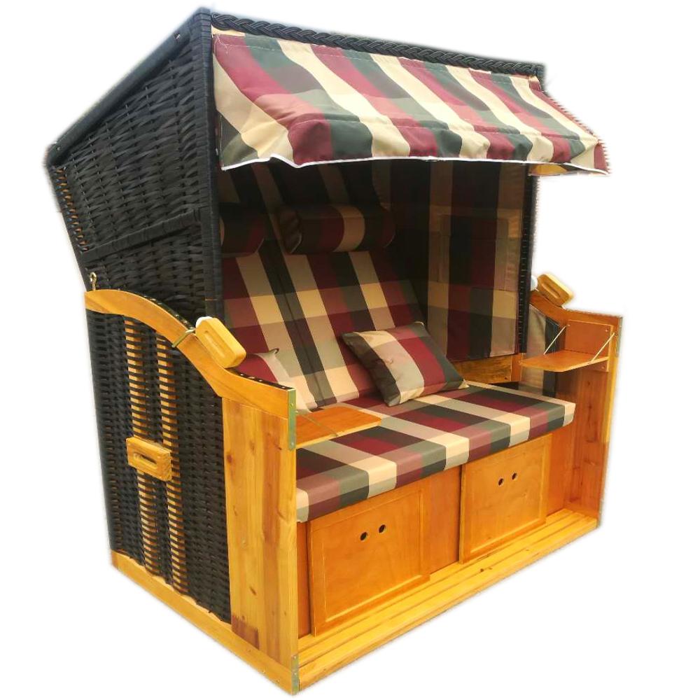 wellness strandk rbe strandkorb halblieger liegekorb binz 174 kariert inkl h lle ebay. Black Bedroom Furniture Sets. Home Design Ideas