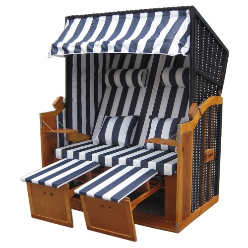 wellness strandk rbe rattan strandkorb liegekorb binz 168 blau weiss inkl h lle ebay. Black Bedroom Furniture Sets. Home Design Ideas
