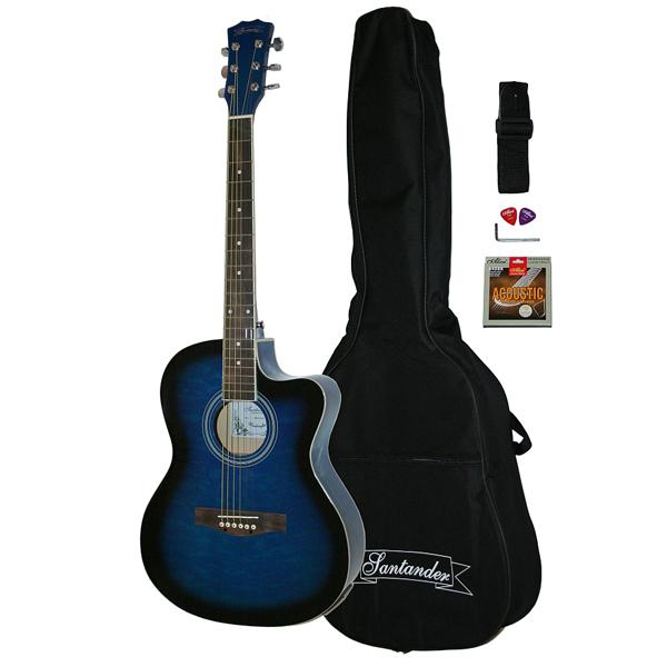 Santander 4//4 Akustik Western Gitarre Set Cutaway Stimmgerät Tonabnehmer Blueb.